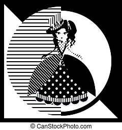 Monochrome cartoon lady doll in gaudy gown and hat