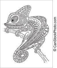Monochrome chameleon coloring page black over white.