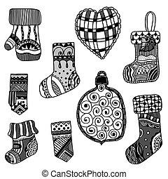 Christmas toys set. - Monochrome Christmas toys set. New ...