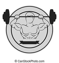 monochrome circular border with muscle man lifting a disc weights and label