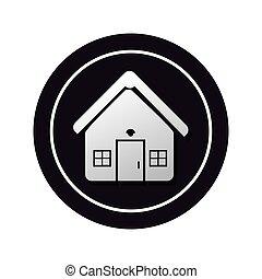 monochrome circular button facade house icon design vector ...