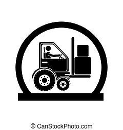 monochrome circular emblem with forklift truck with forks