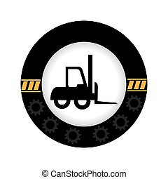 monochrome circular emblem with gears border and forklift truck