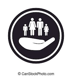 monochrome circular emblem with hand holding family