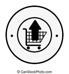 monochrome circular emblem with shopping cart and arrow up