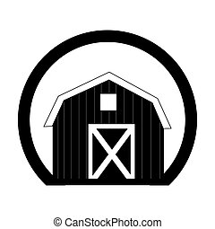monochrome circular frame with barn of two floors