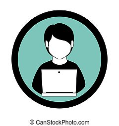 monochrome circular frame with man with laptop