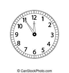 Monochrome clock, isolated on white background