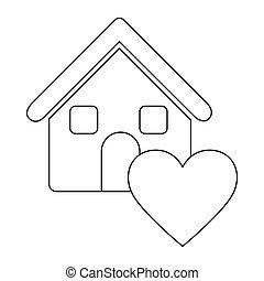 monochrome, coeur, icône, contour, maison