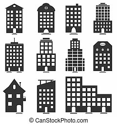 monochrome collection of buildings for your design