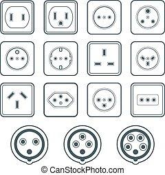 monochrome color contour home industrial power socket types...