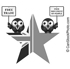 Monochrome comical UK exit from the European Union symbol