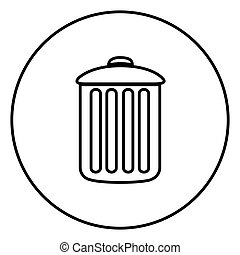 monochrome contour circular frame with trash container