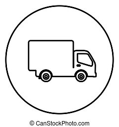 monochrome contour circular frame with truck icon