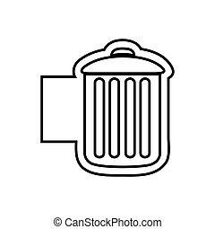 monochrome contour emblem with trash container