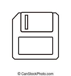 monochrome contour floppy disk computer