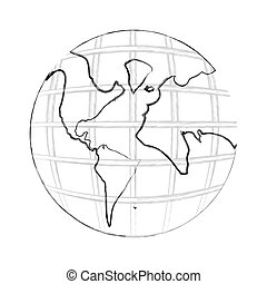 monochrome contour hand drawing of earth world map with continents