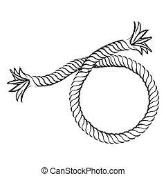 monochrome contour hand drawing of nautical break rope