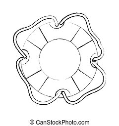 monochrome contour hand drawing of flotation hoop icon with...