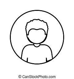 monochrome contour in circle with half body afro man with short hair