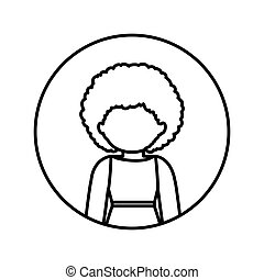 monochrome contour in circle with half body afro woman in dress with curly hair