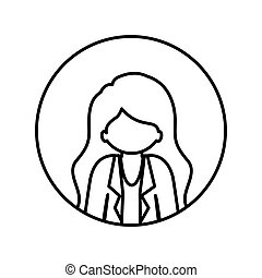 monochrome contour in circle with half body afro woman with jacket and long hair