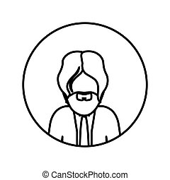 monochrome contour in circle with half body man with beard and tie