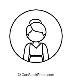 monochrome contour in circle with half body woman in dress with collected hair