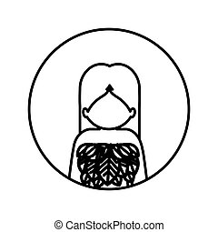 monochrome contour in circle with half body woman with leaves in chest