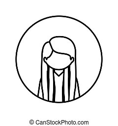monochrome contour in circle with half body woman with long straight hair