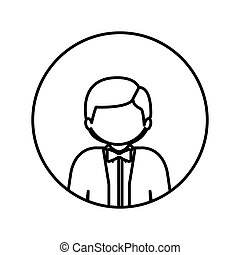 monochrome contour in circle with half body man with bow tie