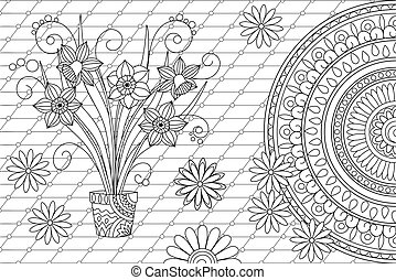 monochrome contour lines abstract background with narcissus in pot and mandala