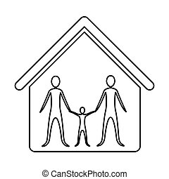 monochrome contour of family group in home