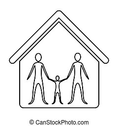 monochrome contour of family in home vector illustration