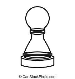 monochrome contour of figure pawn of chess vector...