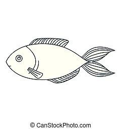 monochrome contour of trout fish