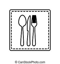 monochrome contour square and dotted line with cutlery icon