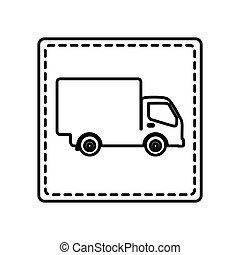 monochrome contour square and dotted line with truck vector...