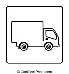 monochrome contour square frame with truck vector...