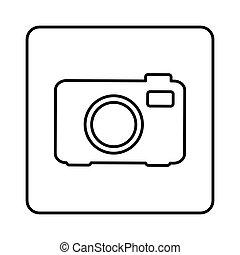 monochrome contour square with analog camera icon