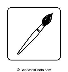 monochrome contour square with brush icon