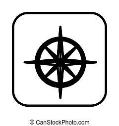 monochrome contour square with compass icon