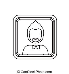 monochrome contour square with half body man with beard without face and bow tie