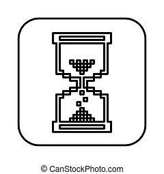 monochrome contour square with hourglass icon