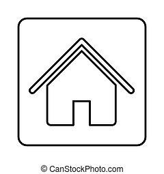 monochrome contour square with house icon