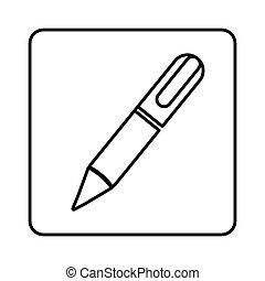 monochrome contour square with pen icon