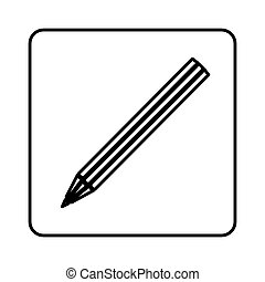 monochrome contour square with pencil icon
