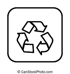 monochrome contour square with recycling icon