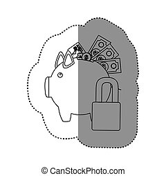 monochrome contour sticker of piggy bank with credit card...