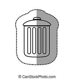 monochrome contour sticker of trash container icon